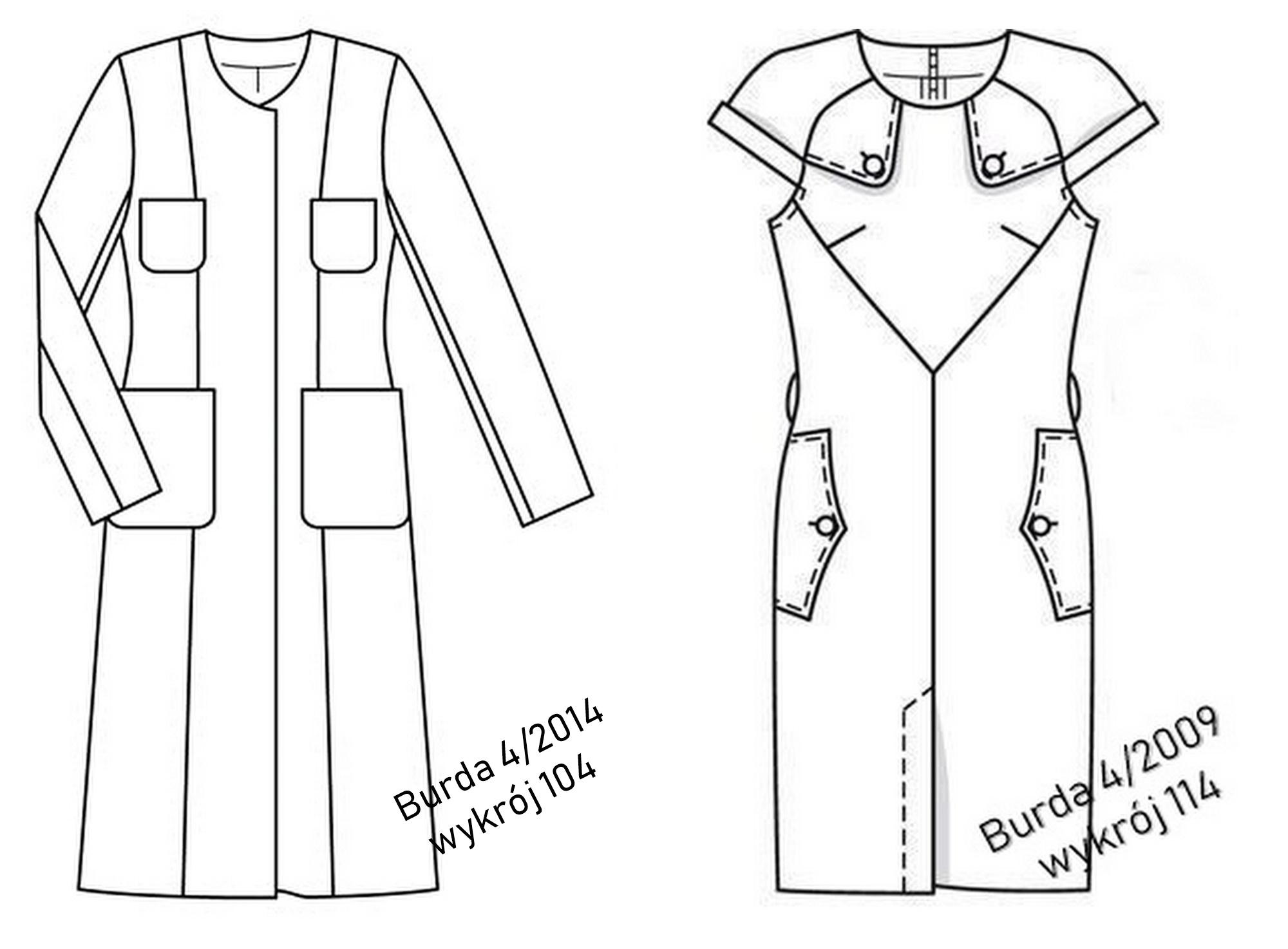 wykrój plaszcza i sukienki