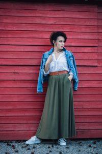 spódnica maxi w kolorze khaki